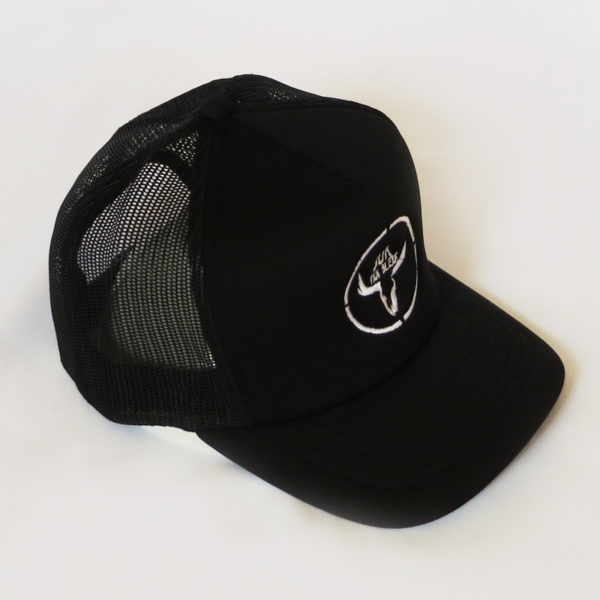 Black Trucker Cap White Logo Middle Side